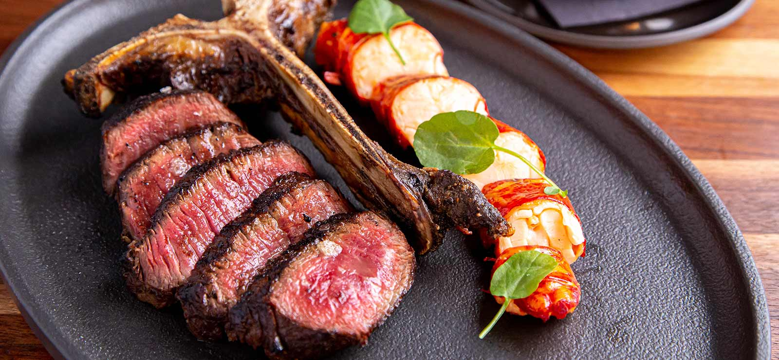 Grilled steak plated